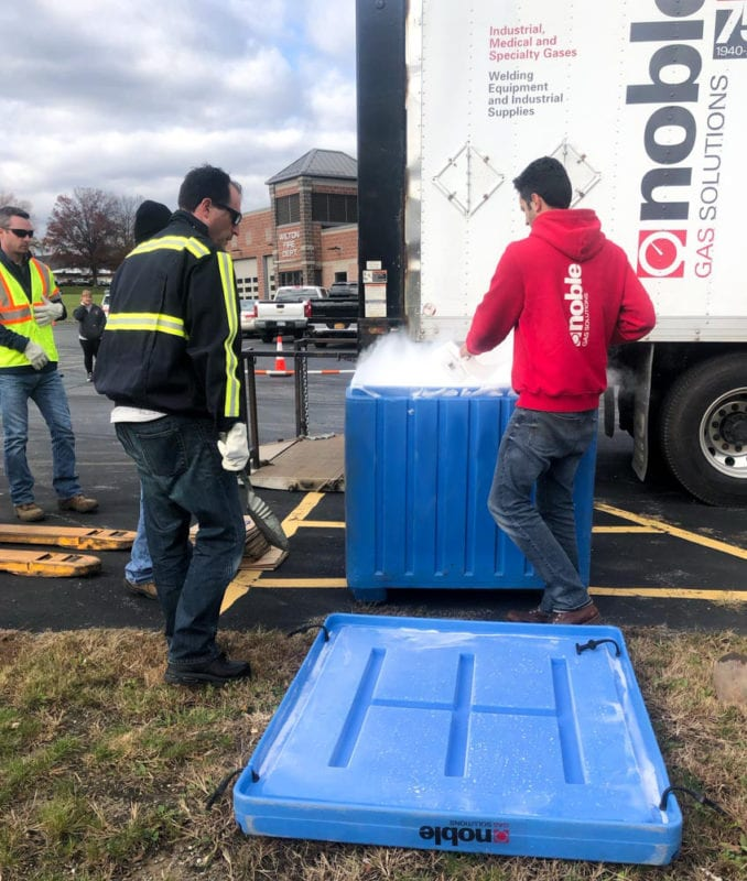 Noble Gas delivering dry ice to Wilton Fire Department